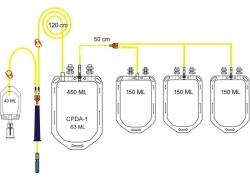 Контейнеры для крови Контейнер для крови WEGO с раствором CPDA-1 450/150/150/150 мл с аксессуарами
